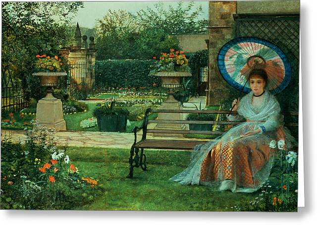 Woman In A Dress Greeting Cards - In the Plesaunce Greeting Card by John Atkinson Grimshaw