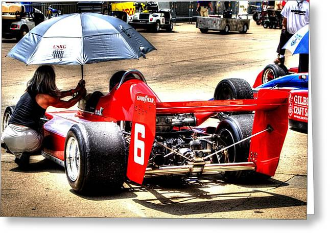 Indy Car Greeting Cards - In the queue Greeting Card by Jonathan Williams