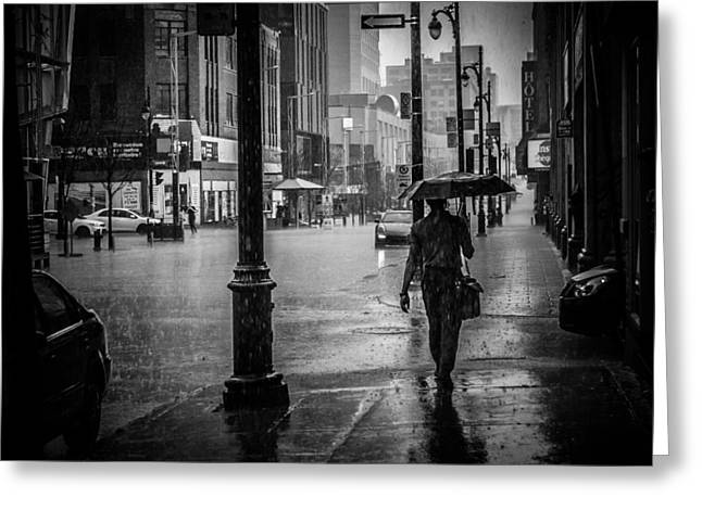 Catherine White Greeting Cards - In the rain Greeting Card by Adriana Assis