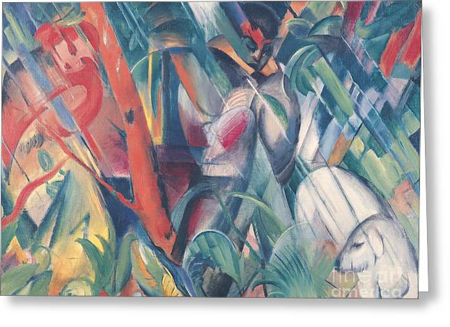 1916 Greeting Cards - In the Rain Greeting Card by Franz Marc