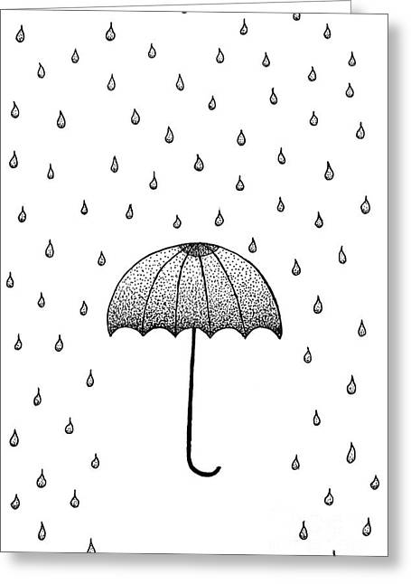 Abstract Rain Drawings Greeting Cards - In The Rain Greeting Card by Konstantin Sevostyanov