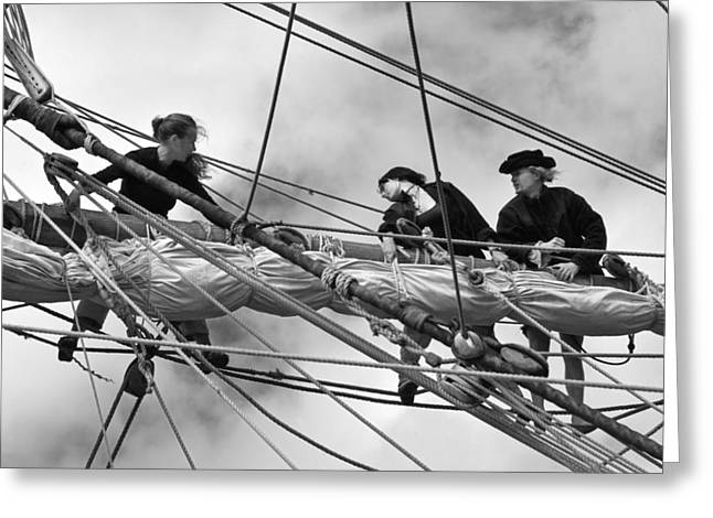 Sailing Ship Greeting Cards - In the Rigging Greeting Card by Robert Lacy