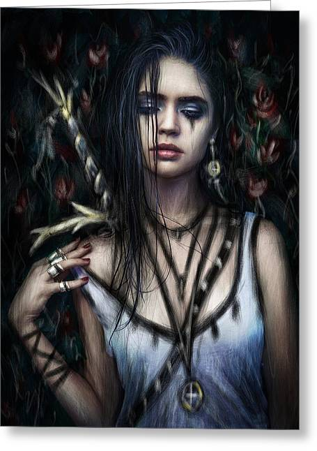 Goth Girl Digital Art Greeting Cards - In the Rose Garden Greeting Card by Justin Gedak