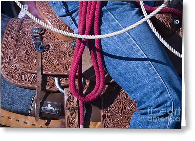 Cowboy Hands Greeting Cards - In the Saddle Greeting Card by Elvira Butler