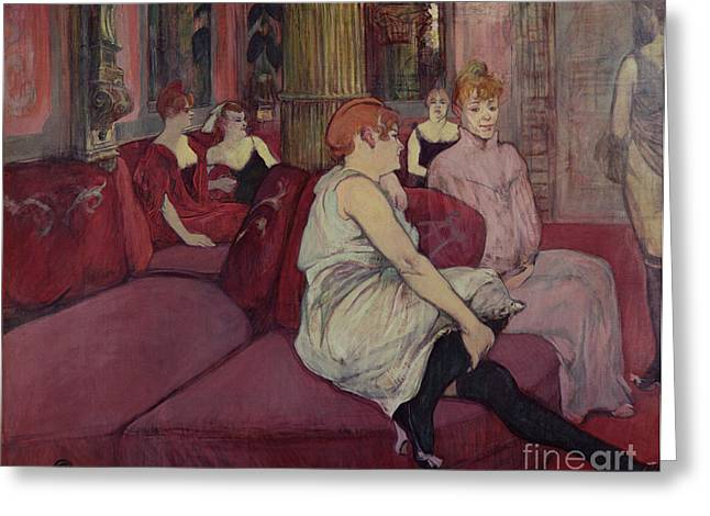 Charcoal Paintings Greeting Cards - In the Salon at the Rue des Moulins Greeting Card by Henri de Toulouse-Lautrec