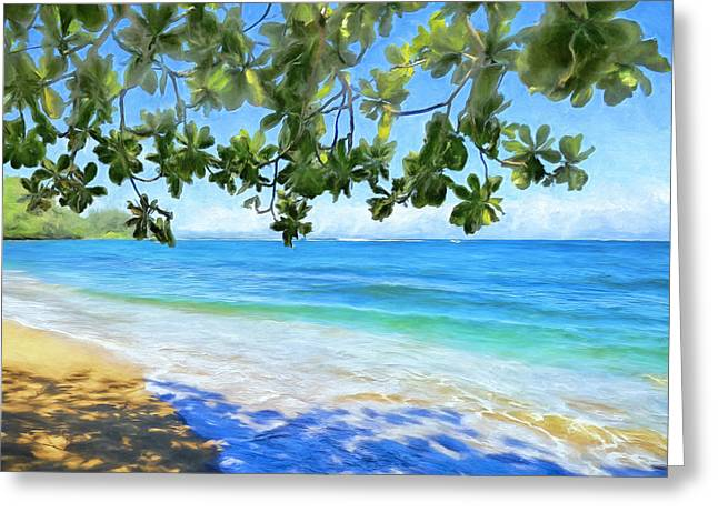 Lahaina Greeting Cards - In the Shade at Hanalei Bay Greeting Card by Dominic Piperata