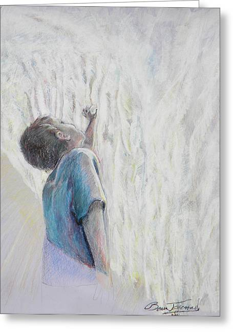 Little Boy Mixed Media Greeting Cards - In The Shadow of His Wing Greeting Card by Beau Ettestad