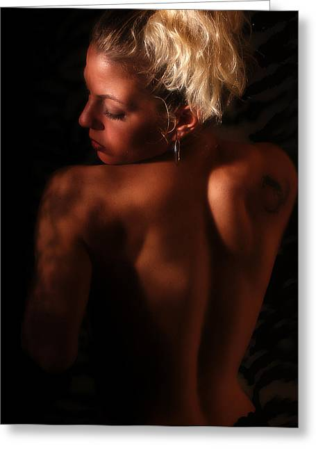 Blonde Nude Greeting Cards - In The Shadows Greeting Card by Clayton Bruster