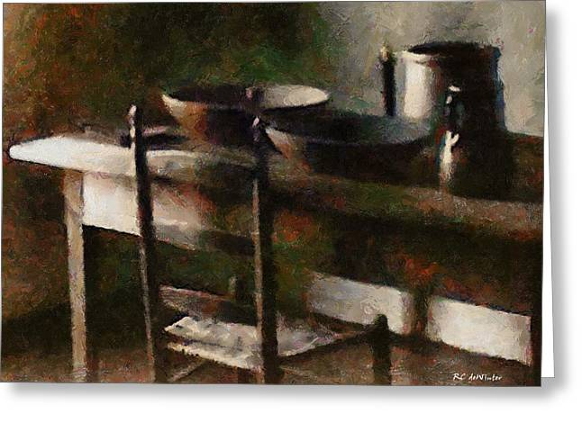Table Greeting Cards - In the Shaker Kitchen Greeting Card by RC deWinter