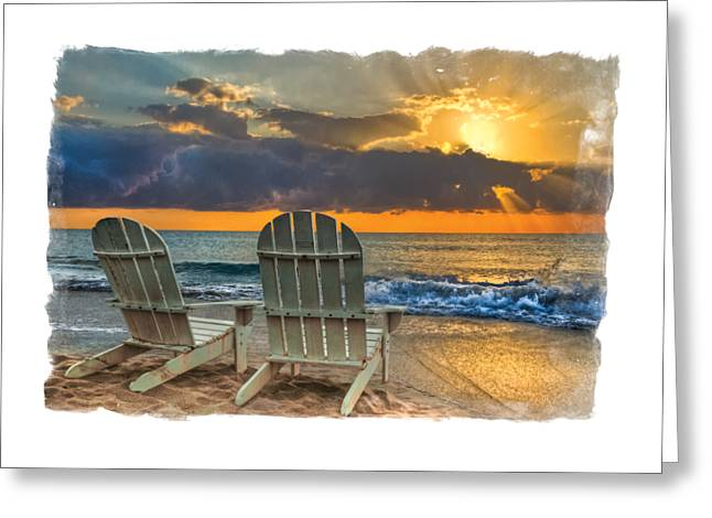 On The Beach Greeting Cards - In the Spotlight bordered Greeting Card by Debra and Dave Vanderlaan