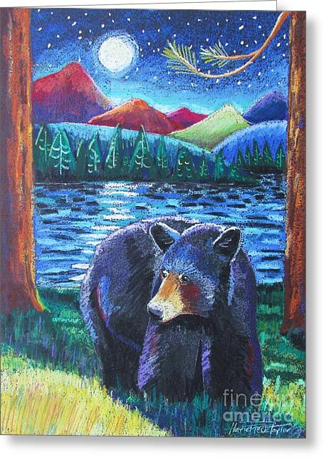 Bear Pastels Greeting Cards - In the Still of the Night Greeting Card by Harriet Peck Taylor