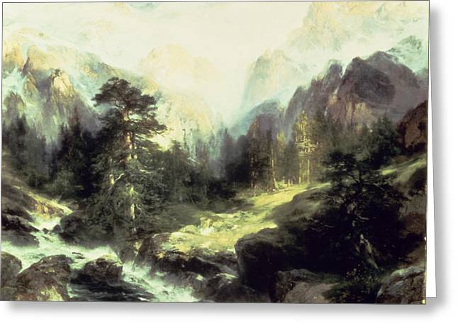 In the Teton Range Greeting Card by Thomas Moran