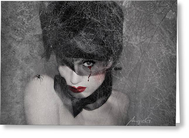 Photomanip Greeting Cards - In the Webs Greeting Card by AngieG PhotographY