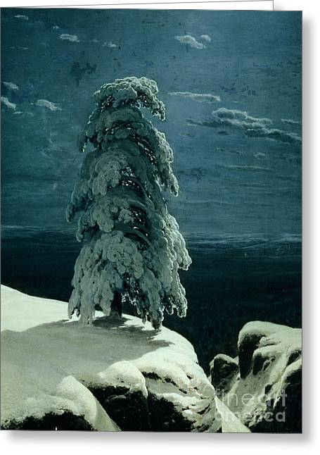 Moonlight Greeting Cards - In the Wild North Greeting Card by Ivan Ivanovich Shishkin