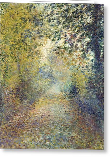 Renoir Greeting Cards - In the Woods Greeting Card by Auguste Renoir