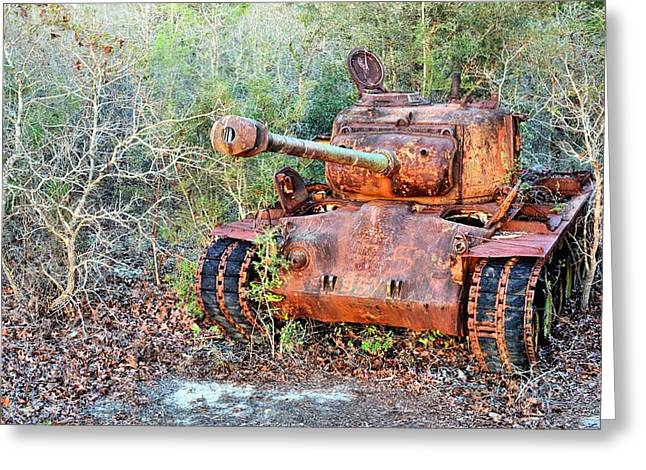 Army Tank Greeting Cards - In the woods Greeting Card by JC Findley