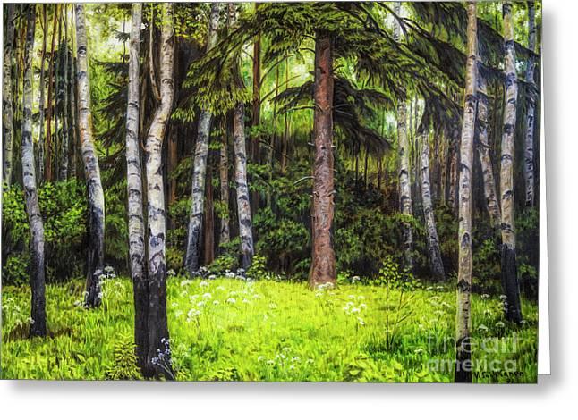 In The Woods Greeting Card by Veikko Suikkanen