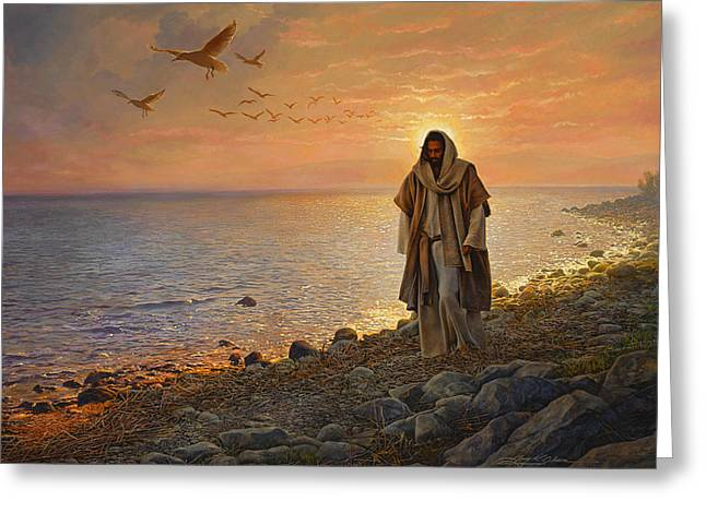 Ocean Shore Paintings Greeting Cards - In the World Not of the World Greeting Card by Greg Olsen