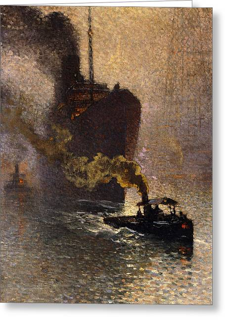 In Tow On The Thames In The Fog Greeting Card by Emile Claus
