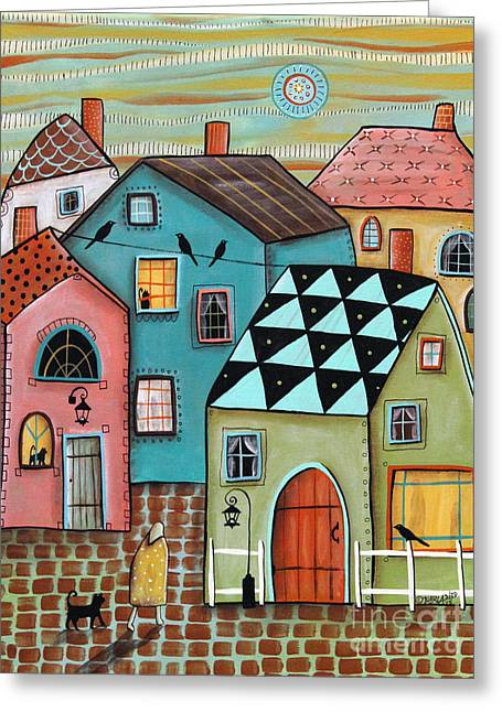 Colorful Houses Greeting Cards - In Town Greeting Card by Karla Gerard