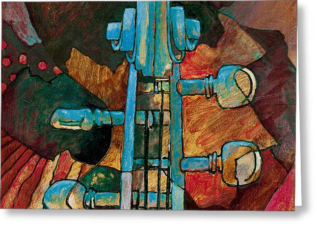In Tune - String Instrument Scroll In Blue Greeting Card by Susanne Clark