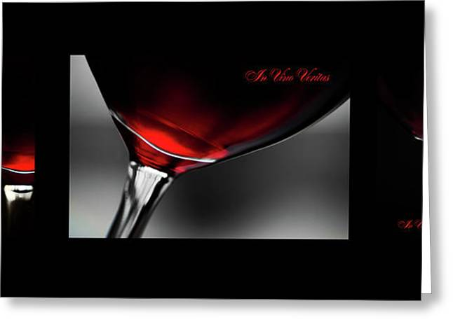 In Vino Veritas. Black Framed Triptych Greeting Card by Jenny Rainbow