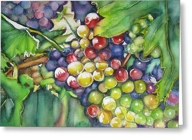 Grape Vines Paintings Greeting Cards - In Vino Veritas  Greeting Card by June Conte  Pryor