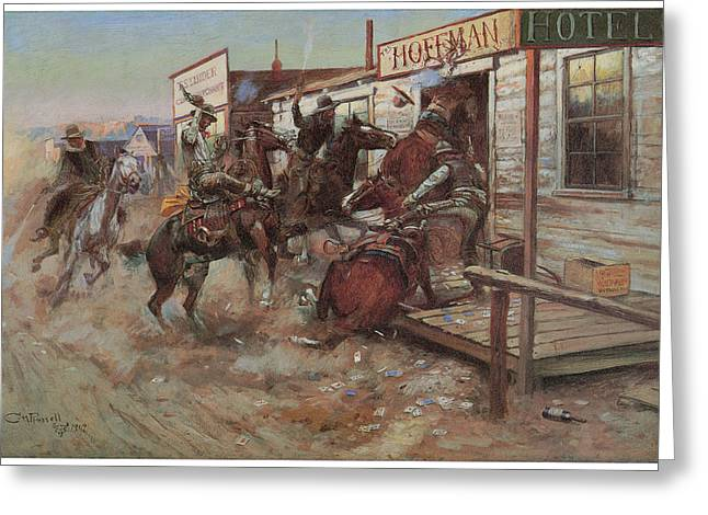 Fine Art In America Greeting Cards - In Without Knocking Greeting Card by Charles M Russell