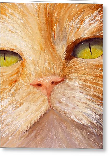 Orange Tabby Paintings Greeting Cards - In Your Face Greeting Card by Ally Benbrook