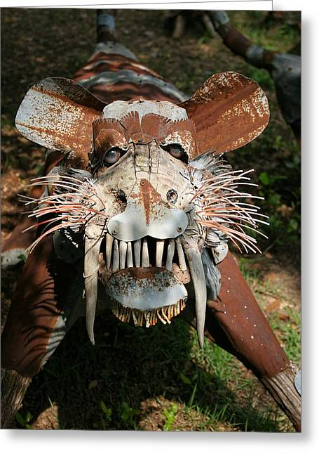 Animal Sculptures Greeting Cards - In Your Face Tiger Greeting Card by Linda Phelps