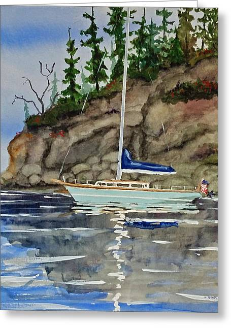 Recently Sold -  - Blue Sailboat Greeting Cards - Inati Bay Greeting Card by Aaron Beaty
