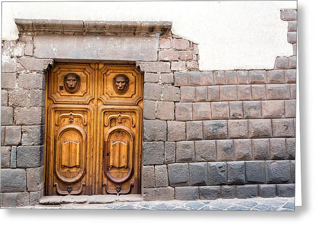 Lost Civilization Greeting Cards - Inca Stonework and Wooden Door Greeting Card by Jess Kraft