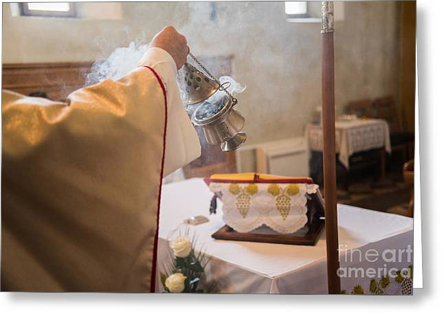Wishes Greeting Cards - Incense during Mass Greeting Card by Viktor Pravdica