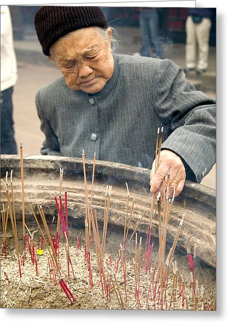 Sichuan Province Greeting Cards - Incense Greeting Card by Inga Spence