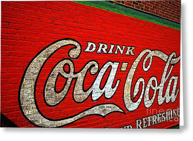 Coca Cola.coke-a-cola Greeting Cards - Inconvenient Coca Cola Sign Greeting Card by JW Hanley