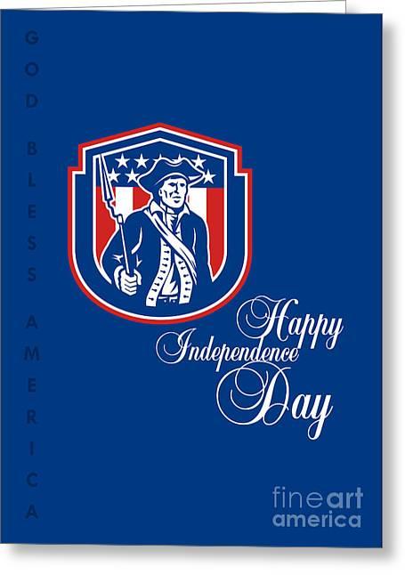 Independence Day Greeting Card-american Patriot Holding Bayonet Rifle Greeting Card by Aloysius Patrimonio