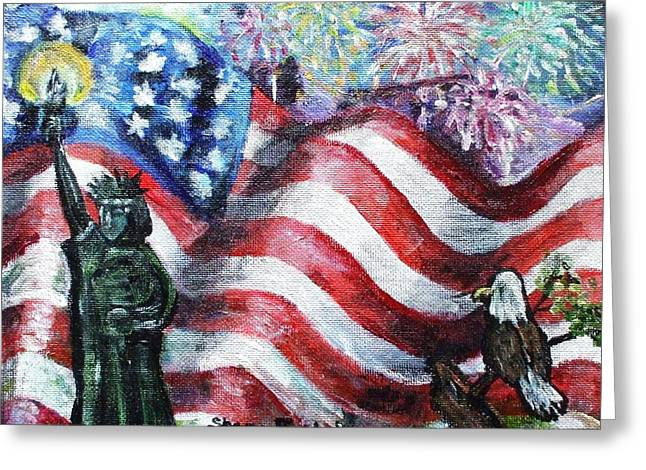 4th July Paintings Greeting Cards - Independence Day Greeting Card by Shana Rowe