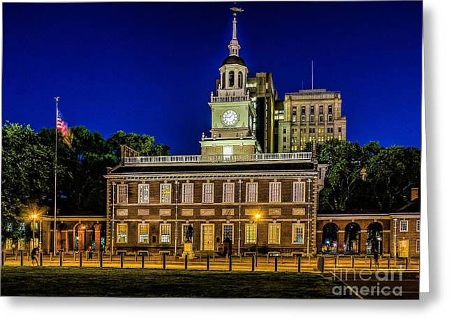 Independence Park Greeting Cards - Independence Hall at Night Greeting Card by Nick Zelinsky