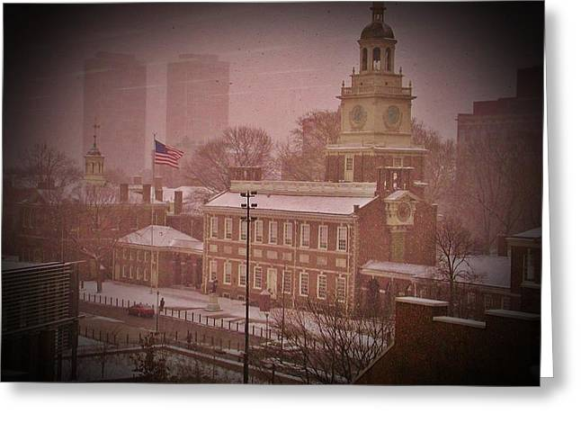 Independance Greeting Cards - Independence Hall in the Snow Greeting Card by Bill Cannon