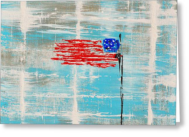 4th July Paintings Greeting Cards - Independence With Clouds Greeting Card by Alys Caviness-Gober