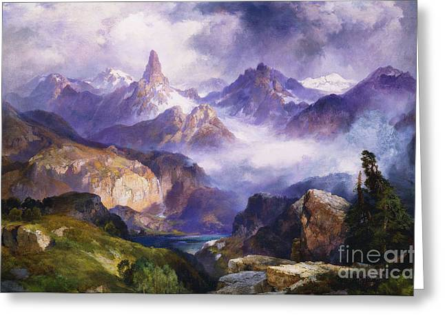 Nature Scene Paintings Greeting Cards - Index Peak Yellowstone National Park Greeting Card by Thomas Moran
