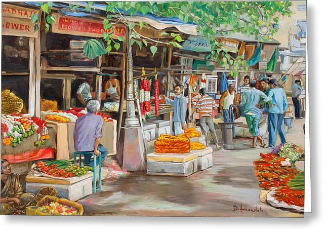India Flower Market Street Greeting Card by Dominique Amendola
