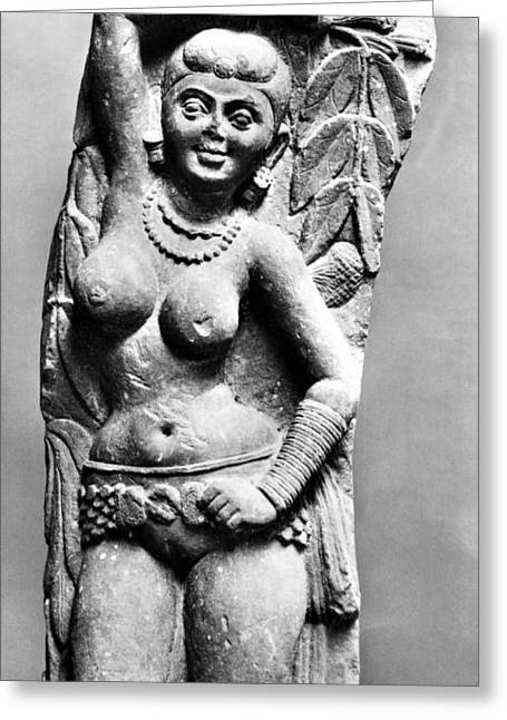 Nude Relief Sculpture Greeting Cards - India: Jain Sculpture Greeting Card by Granger