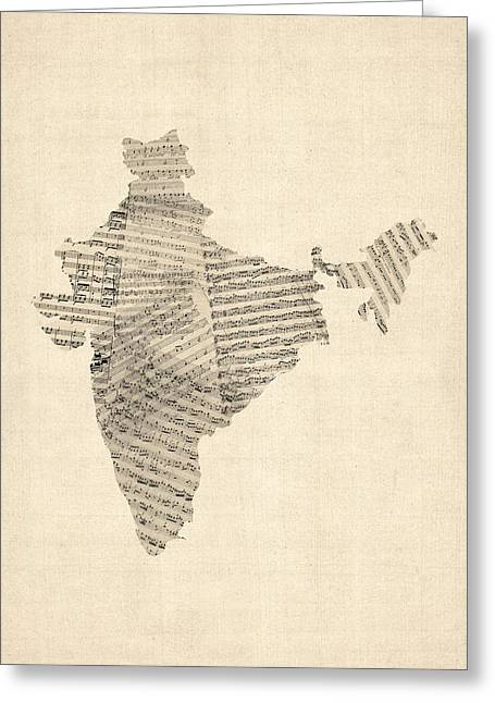 India Map, Old Sheet Music Map Of India Greeting Card by Michael Tompsett