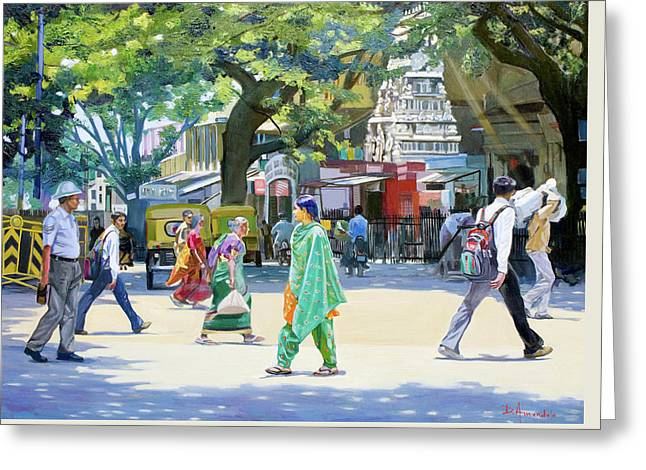 India Street Scene 2 Greeting Card by Dominique Amendola