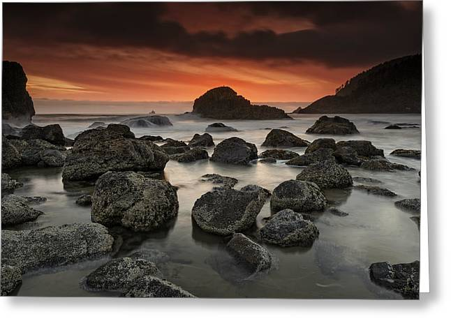 Indian Beach Sunset Greeting Card by Rick Berk
