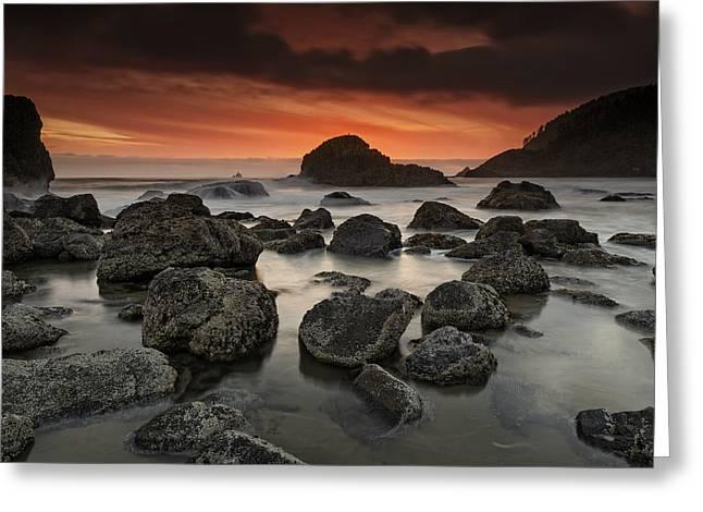 Tillamook Lighthouse Greeting Cards - Indian Beach Sunset Greeting Card by Rick Berk
