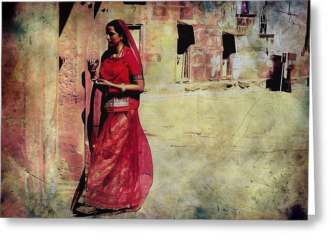 Royal Art Greeting Cards - Indian Beauty Rajasthan Exotic Travel Woman 1h Greeting Card by Sue Jacobi