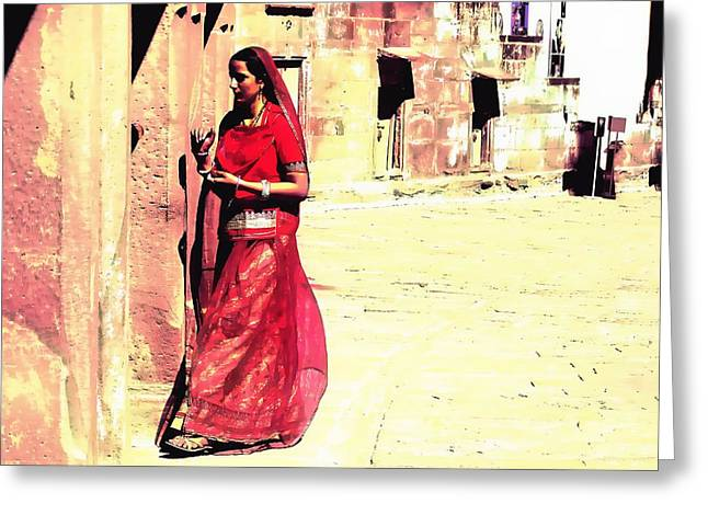 Royal Art Greeting Cards - Indian Beauty Rajasthan Exotic Travel Woman 1j Greeting Card by Sue Jacobi