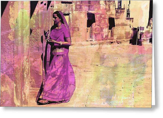 Royal Art Greeting Cards - Indian Beauty Rajasthan Exotic Travel Woman Mauve 1g Greeting Card by Sue Jacobi